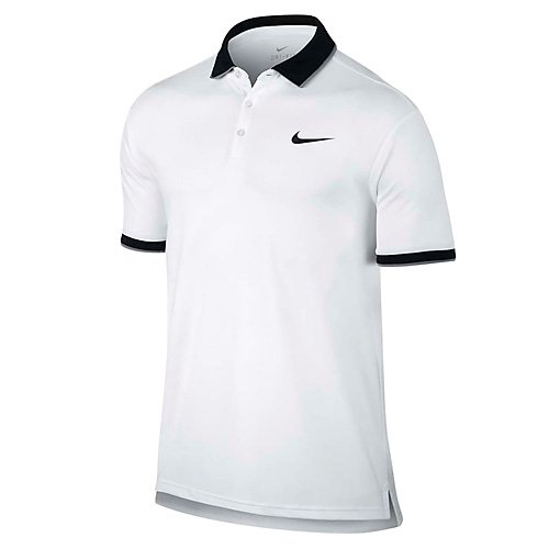 - Nike Court Mens Tennis Polo Style: 644776 (White/Black/Cool Grey/Blk, Small)