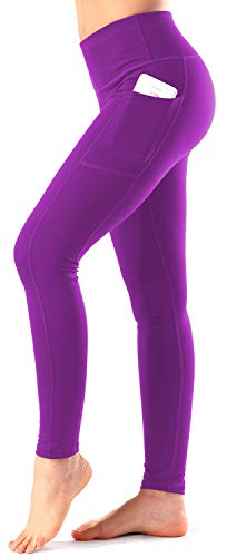 Women's High Waist Yoga Pants with Side & Inner Pockets Tummy Control Workout Running 4-Way Stretch