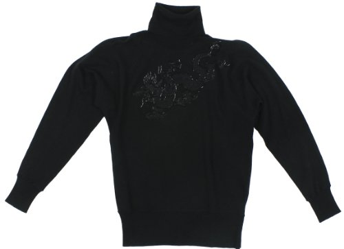 Beaded Silk Sweater (Lauren Ralph Lauren Women's Silk Blend Beaded Dragon Turtleneck Sweater (Black/Imperial Gold) (Large))
