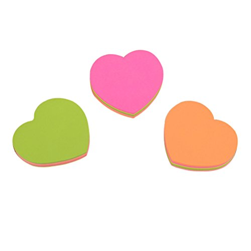 Heart Shaped Notepads - NUOLUX Super Sticky Notes Heart-Shaped Note Papers for School Office and Home 3PCS