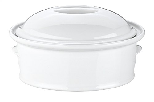 Petite Covered Casserole (Pillivuyt Oval Casserole with Lid, Medium 7.75 x 5.5 Inches, 1 Quart)