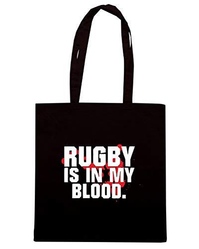 Speed Shirt Borsa Shopper Nera TRUG0133 RUGBY IS IN MY BLOOD