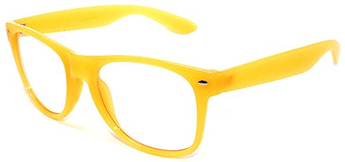 Classic Vintage Retro 80's Sunglasses with Clear Lens Yellow - Wholesale Clear Glasses Wayfarer