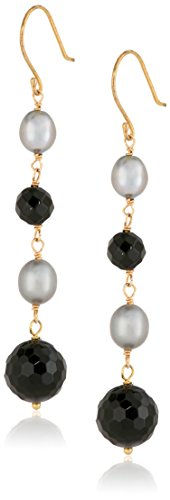 - Gold over Silver Black Onyx and Dyed Grey Rice Freshwater Cultured Pearl on Linear Drop Earrings