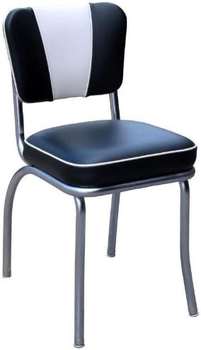 Richardson Seating Retro Diner Side Chair Black White Box Seat