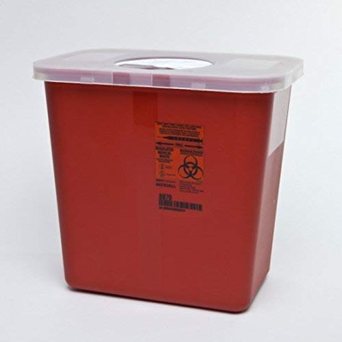 Kendall Sharps Container with Rotor Lid - 2 Gallon - 1/Case of 20 by Sharps Container