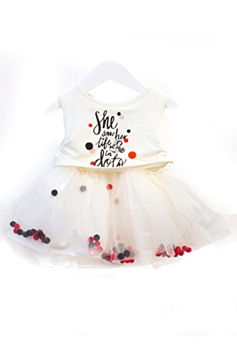 Disney Collection by Tutu Couture Minnie Mouse Pom Pom Tutu Dress (4T, White) (Disney Couture Kids)