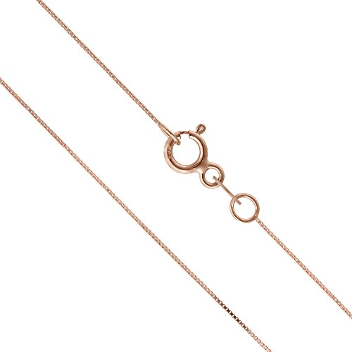14K Thin Solid Rose Gold 0.5mm Box Chain Necklace – 18 Inches