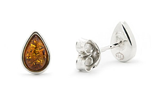 Cognac Baltic Amber Earrings (925 Sterling Silver Drop Stud Amber Earrings with Genuine Natural Baltic Cognac Amber.)