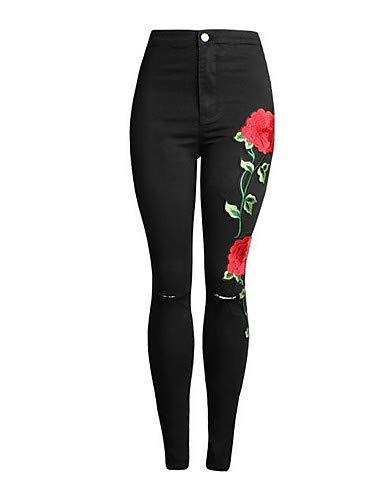 YFLTZ Pantalones Vaqueros de Las Mujeres - Cintura Alta Floral/Salir Black
