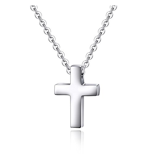 Xianli Wang Tiny Simple Cross Pendant for Children Boy Girl Stainless Steel Small Necklace (Silver-tone)