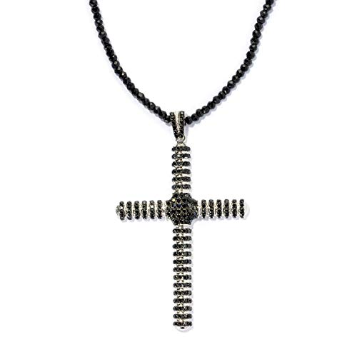 Pinctore Sterling Silver 3.29ctw Black Spinel Cross Pendant with 18' Beaded Chain Beaded Sterling Silver 18' Necklace