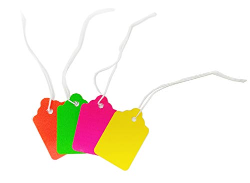 Fluorescent Neon Blank Strung Merchandise Pricing Tags with String, 5 Tags, 1.1