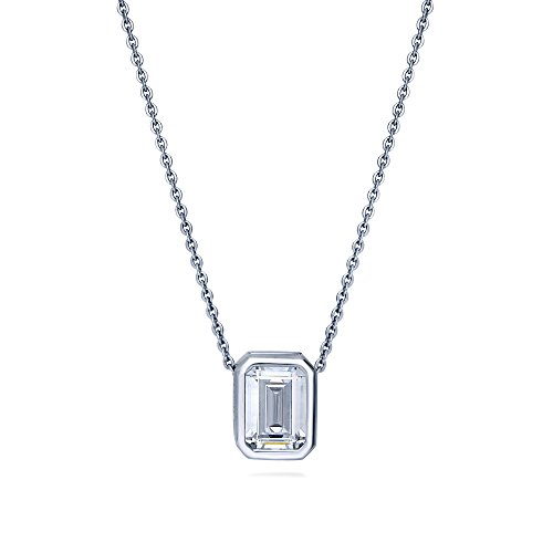 BERRICLE Rhodium Plated Sterling Silver Emerald Cut Cubic Zirconia CZ Solitaire Pendant Necklace 18