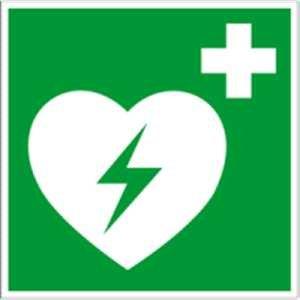 Hinweisschild auf einen Defibrillator (AED Automatisierter externer Defibrillator) Folie 20 x 20cm gemäß ASR A 1.3/BGV A8/DIN 4844
