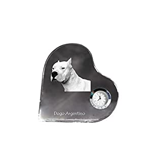 Dogo Argentino, Heart Shaped Crystal Clock with an Image of a Dog 1
