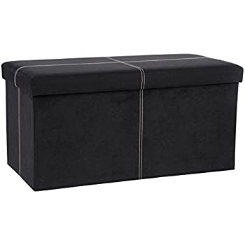 The FHE Group Folding Storage Bench, 30 By 15 By 15 Inch, Black