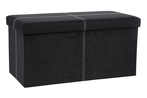 Microfiber Footstool - The FHE Group Folding Storage Bench, 30 by 15 by 15-Inch, Black Suede
