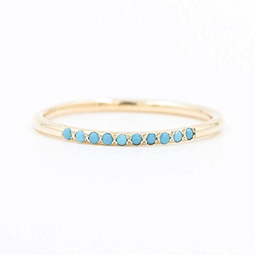 14k Gold Turquoise Row Stacking Ring