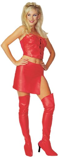 Rubie's Women's Faux Leather Costume Thigh High Boot Tops, Red, One Size -