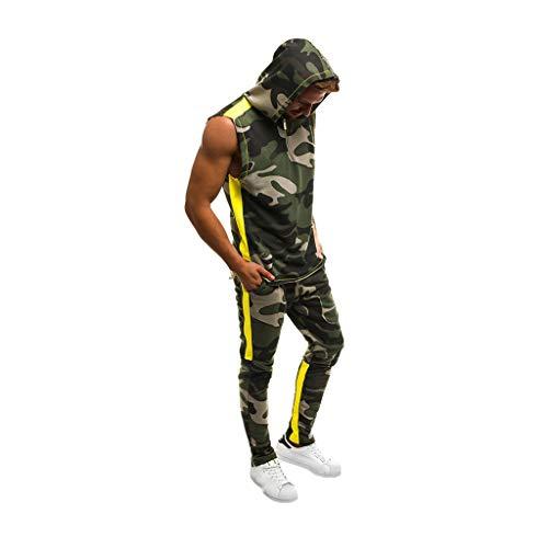 Men Tracksuit Set Camo Sweatsuit Slim Tracksuit Sports Patchwork Sweatshirt Sleeveless Hoodies Tops Pants Suit (Army Green, XXL)