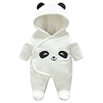 Baby Hooded Rompers Flannel Winter Outfits Boys Girls Snowsuits Feet Covered Jumpsuit 9-12 Months