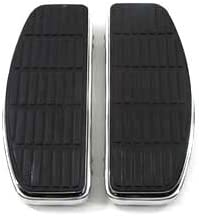 Driver Chrome /'D/' Shape Footboard Set fits Harley-Davidson