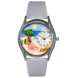 Whimsical Watches Women's S1210010 Palm Tree Light Blue Leather Watch