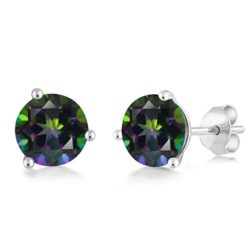 Gem Stone King 14K White Gold 2.60 Ct Round Green Mystic Topaz 3-Prong Martini Stud Earrings ()