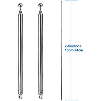 Replacement 34cm 5 Sections Telescopic Antenna Aerial for Radio TV