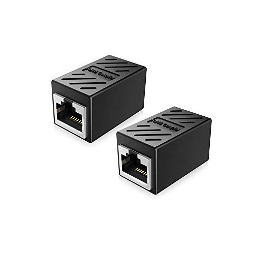 Gleewin 2-Pack RJ45 Coupler Cat7 Cat6 Cat5e Ethernet Cable Extender Adapter LAN Connector in Line Coupler Female to Female