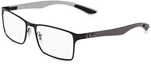 Fiber Ray Carbon - Ray-Ban RX8415 Rectangular Metal Eyeglass Frames, Matte Black/Demo Lens, 55 mm
