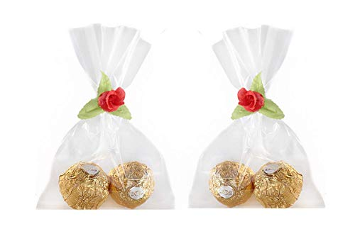 Plastic Party Favor Bags 60-Pack – 4x6 Treat Bags with Ties for Birthdays, Graduation, Baby Showers, and More – Cellophane Wedding Favor Bags with Beautiful Floral Ties – Clear Treat Bags by Partyoyo ()