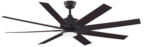 Dark Bronze Outdoor Hanging (Fanimation F9D7916DZ - 63 inch - Levon Ceiling Fan with Walnut Blades with LED Light Kit and Remote, Dark Bronze)