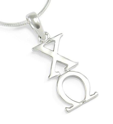 The Collegiate Standard Chi Omega Sorority Sterling Silver Lavaliere Pendant