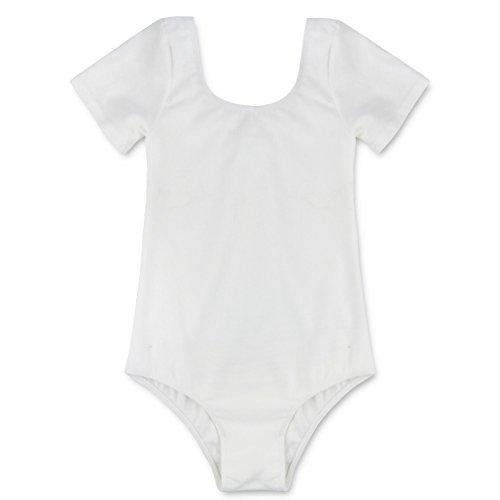 TiaoBug Girls Short Sleeves Ballet Leotard Gymnastics Bodysuit Dancewear (White, 6) (Bodysuit Ballet)