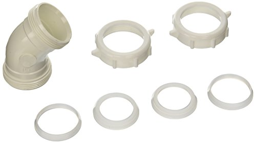 Keeney 49PVCK 45 Degree 1-1/2-Inch or 1-1/4-Inch by 1-1/2-Inch Coupling Elbow, White (Joint Slip Coupling)
