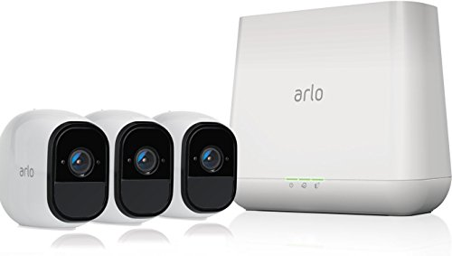 Arlo Pro by NETGEAR Security System with Siren - 3 Rechargeable Wire-Free HD Cameras with Audio, Indoor/Outdoor, Night Vision (VMS4330) (Renewed)