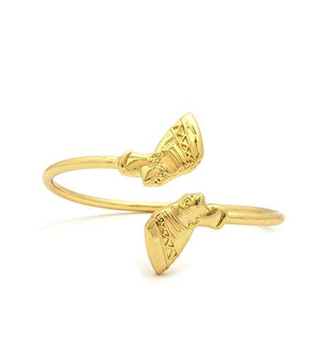Egypt Queen Side Face Nefertiti Small, Medium, Large Brass Cuff Bangle Bracelet in Gold Tone (Medium Size) (Bangle Brass Cuff)