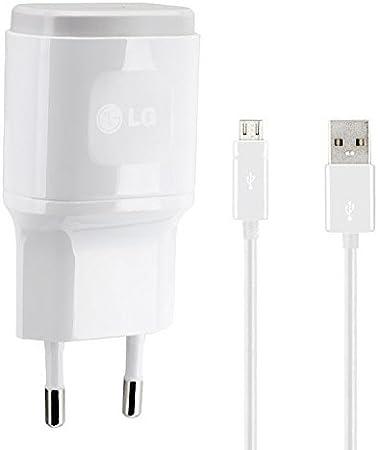 Genuine LG Bianco 1.8 Amp ( 1800 mAh ) 2 Pin EU Caricabatterie + cavo Micro USB adatto per LG G4, LG G4c, LG G4 Stilo, LG G2, LG G3, LG G3s, LG G2