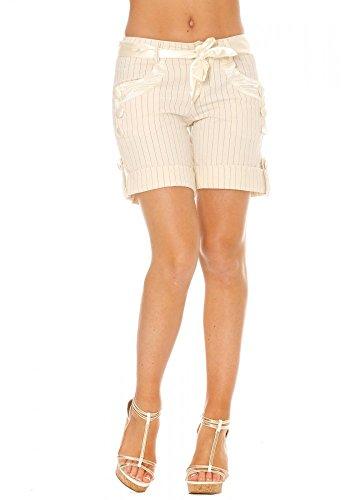 dmarkevous - Short long écru à fines rayures - S, blanc