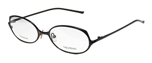Vera Wang V107 Womens/Ladies Optical Fancy Designer Full-rim Titanium Eyeglasses/Eyeglass Frame (51-17-135, Black)