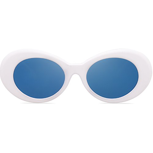 SOJOS Clout Goggles Oval Mod Retro Vintage Kurt Cobain Inspired Sunglasses Round Lens SJ2039 with White Frame/Blue Mirrored Lens