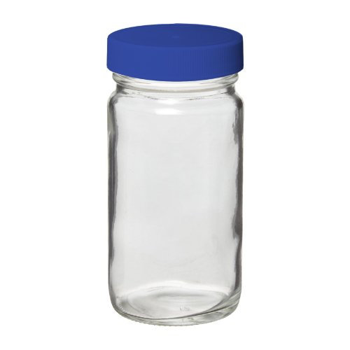 I-Chem Brand 121-0500 Clear Glass 500mL 100 Series Type III Mouth Jar, with PTFE-Lined Polypropylene Closure, Tall, Unprocessed (Case of 12)