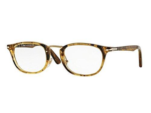 Persol Brown Frame (Persol PO 3126V 1021 Eyeglasses Stripped Light Brown)