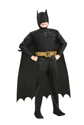 Batman Dark Knight Rises Child's Deluxe Muscle Chest Batman Costume with Mask/Headpiece and Cape - -