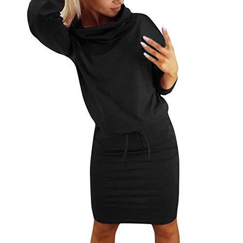 Fashion colore Nero Maniche Warm Wild Alto Abito Casual Donna Up Lace Mini Cocktail Large Dimensione Dress Da Women Lunghe Abiti Grigio Party Collo Pockets xgqCHwXPTA