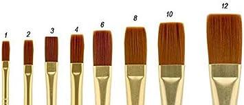 Heavy Bodied Media Fine Art Creative Mark Qualita Golden Paint Brush Taklon Long Handle Paint Brush for Acrylics Oils Single Brush - Fan - Size 6
