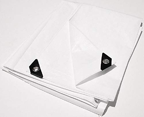 6' X 8' White Extra Heavy Duty 12-mil Poly TARP w/Grommets (Finished Size Approx. 5'6