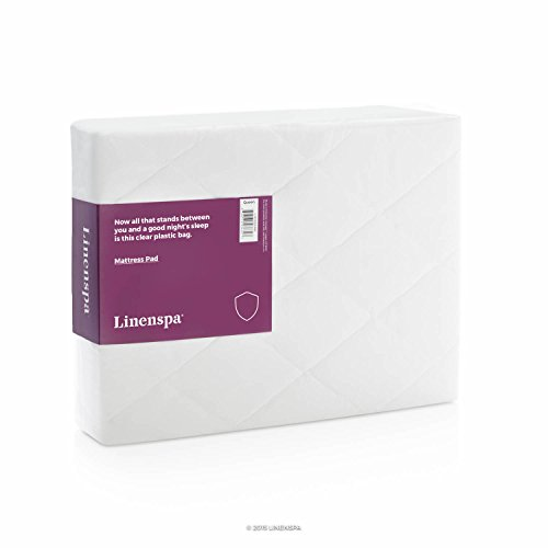 LINENSPA Quilted Microfiber Mattress Pad - Breathable, Hypoallergenic Comfort - Queen (Fill Hypoallergenic Mattress Pad)